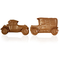 2 Solid Chocolate Vintage Cars